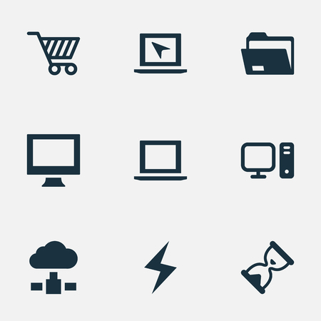 Vector Illustration Set Of Simple Laptop Icons. Elements Hourglass, Memory, Dossier And Other Synonyms Bolt, Laptop And Shopping. Illustration