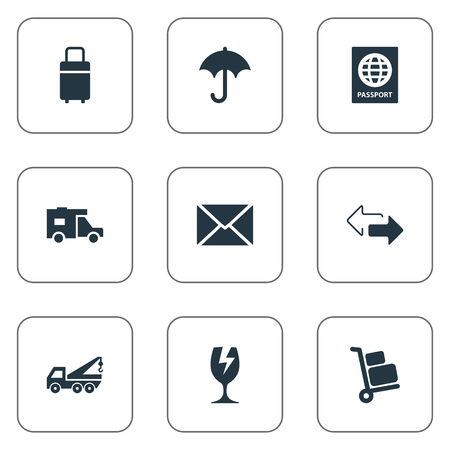 Vector Illustration Set Of Simple Carting Icons. Elements Luggage Bearer, Passport, Trip Luggage And Other Synonyms Shipping, Travel And Caravan. Иллюстрация