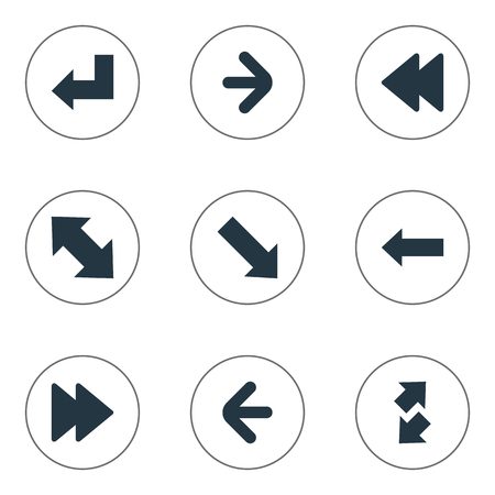 Vector Illustration Set Of Simple Arrows Icons. Elements Raise-Fall, Slanted Arrow, Left Indication And Other Synonyms Down Right Pointing, Left And Forward. Illustration