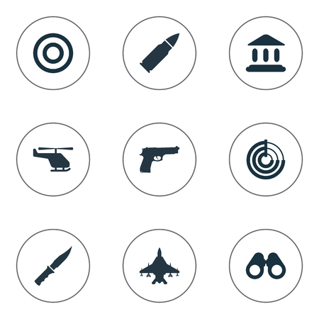 courthouse: Vector Illustration Set Of Simple Terror Icons. Elements Courthouse, Telescope, Pistol And Other Synonyms Helicopter, Courthouse And Force.