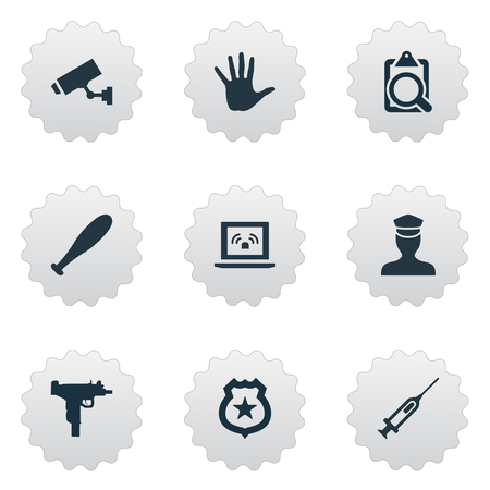 Vector Illustration Set Of Simple Offense Icons. Elements File, Volunteer, Safety And Other Synonyms File, Security And Gun. Illustration