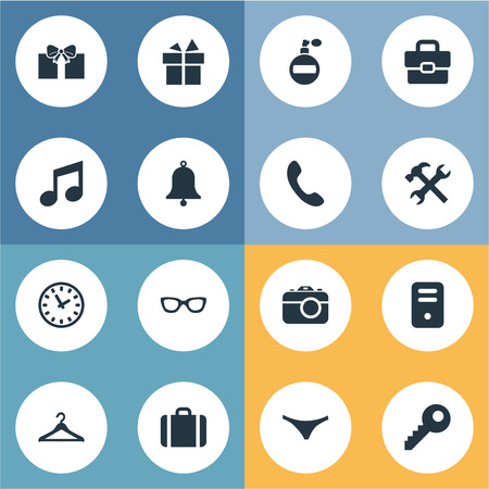Vector Illustration Set Of Simple Instrument Icons. Elements Digital Camera, Underwear, Eyeglasses And Other Synonyms Handbag, Time And Spectacles.