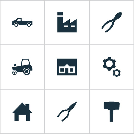 Vector Illustration Set Of Simple Wrench Icons. Elements Transportation, House, Agriculture Transport And Other Synonyms Gears, Engineering And Carpentry.