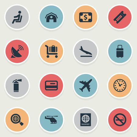 벡터 일러스트 레이 션 간단한 교통 아이콘의 집합입니다. 요소 담배 금지, 수하물 카트, 비행기 및 다른 동의어 카드, 장바구니 및 Alighting.