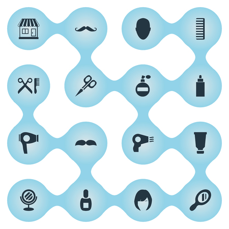 Vector Illustration Set Of Simple Hairdresser Icons. Elements Barber Tools, Supermarket, Flask And Other Synonyms Container, Hackle And Tube.
