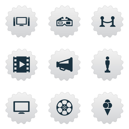 Vector Illustration Set Of Simple Movie Icons. Elements Rope Barrier, Sorbet, Megaphone And Other Synonyms Sundae, Television And Play.