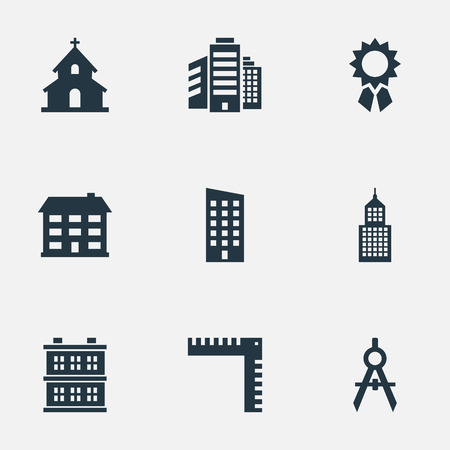 Vector Illustration Set Of Simple Structure Icons. Elements Reward, Engineer Tool, Superstructure And Other Synonyms Compass, Ruler And Religious.