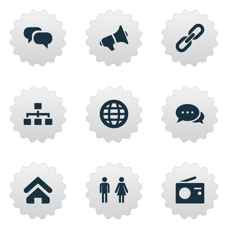 Vector Illustration Set Of Simple Communication Icons. Elements Structure, Conversation, Talking And Other Synonyms House, Networking And Earth.