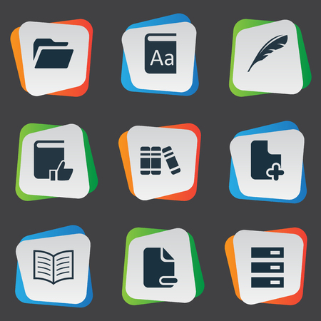 Vector Illustration Set Of Simple Knowledge Icons. Elements Document Archive, Favored Book, Page Removing And Other Synonyms Information, Literature And Reading. Illustration