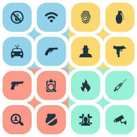 Vectorillustratie Set Of Simple Offense Icons. Elementen vaccin, geweer, gearresteerd en andere synoniemen Wi-Fi, biometrische en teken.