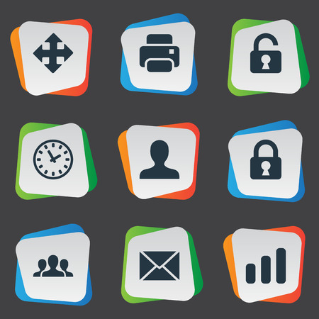 Vector Illustration Set Of Simple Practice Icons. Elements Message, User, Arrows And Other Synonyms Envelope, Open And Enlarge.
