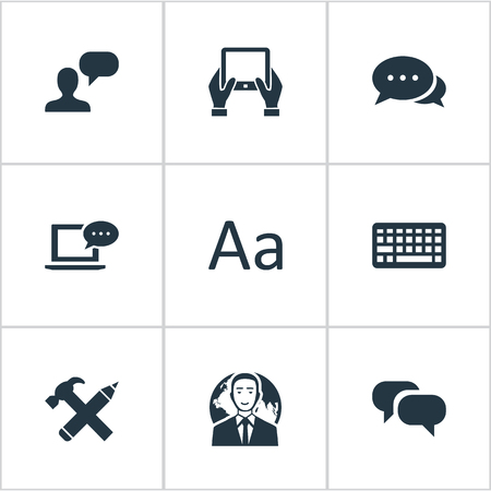 Vector Illustration Set Of Simple Blogging Icons. Elements Cedilla, Argument, Keypad And Other Synonyms Repair, Coming And Typography. Illustration