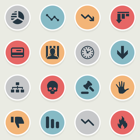 Vector Illustration Set Of Simple Crisis Icons. Elements Clock, Downward, Bar Graph And Other Synonyms Relationship, Business And Decreasing.