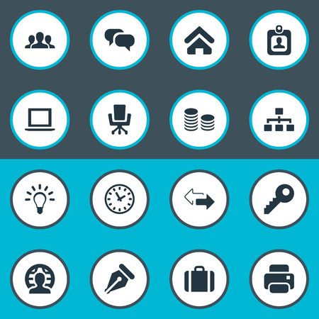 Vector Illustration Set Of Simple B2B Icons. Elements Nib, Password, Computer And Other Synonyms Idea, Printer And Laptop. Illustration