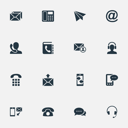 Vector Illustration Set Of Simple Contact Icons. Elements Dialogue, Telephone, Correspondence And Other Synonyms Dialogue, House And Cellular.