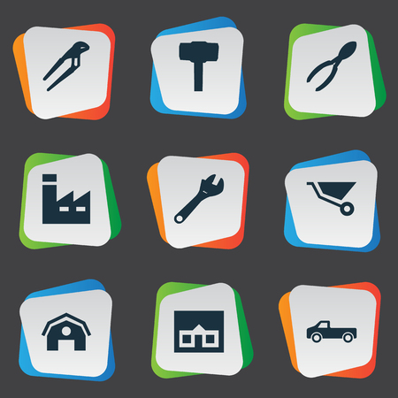 carried: Vector Illustration Set Of Simple Repair Icons. Elements Home, Transportation, Cutters And Other Synonyms Factory, Tool And Carpentry.