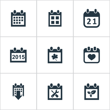 Vector Illustration Set Of Simple Date Icons. Elements History, Reminder, Agenda And Other Synonyms Day, Heart And Agenda. Illustration