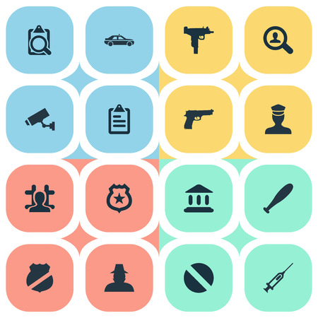 Vector Illustration Set Of Simple Police Icons. Elements Safety, Inspector, Officer Badge And Other Synonyms Inoculation, Bat And Court.