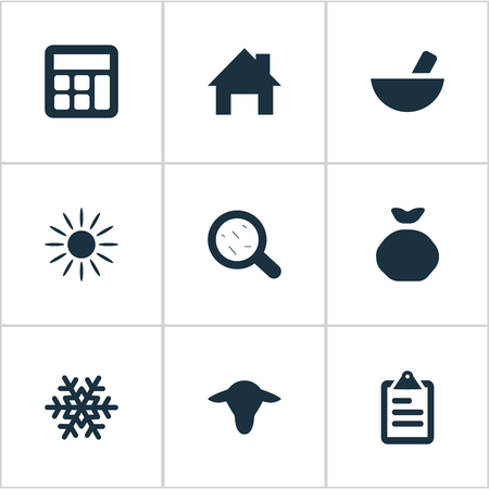 Vector Illustration Set Of Simple Agriculture Icons. Elements Medicament, Sunshine, Calculator And Other Synonyms Accounting, Snow And Math.
