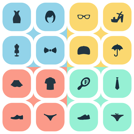 brolly: Vector Illustration Set Of Simple Wardrobe Icons. Elements Mannequin, Female Cloth, Brolly And Other Synonyms Suit, Mannequin And Protect.