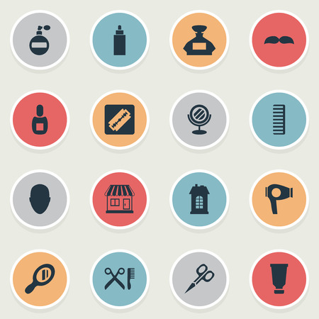 Vector Illustration Set Of Simple Barber Icons. Elements Drying Machine, Peeper, Supermarket And Other Synonyms Man, Tool And Looking-Glass. Illustration