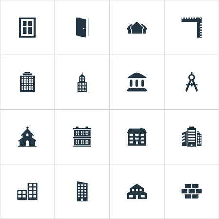Vector Illustration Set Of Simple Construction Icons. Elements Block, Flat, Residential And Other Synonyms Wall, Windows And Gate. Illustration