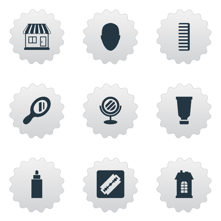 Vector Illustration Set Of Simple Barber Icons. Elements Reflector, Shaver, Human And Other Synonyms Razor, Store And Construction. Illustration