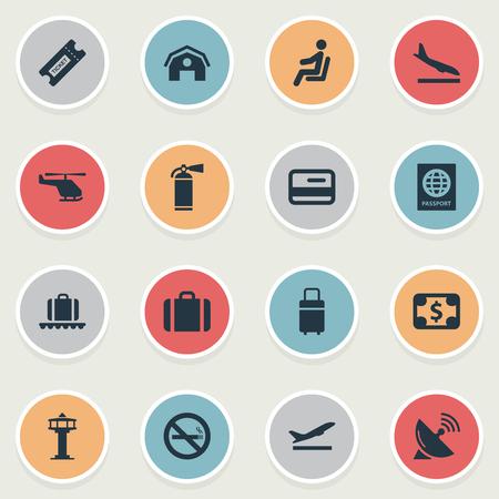 벡터 일러스트 레이 션 간단한 교통 아이콘의 집합입니다. 시민권, 차고, 비행기 및 기타 동의어 인증서 요소 보호, 비행 및 플라스틱.