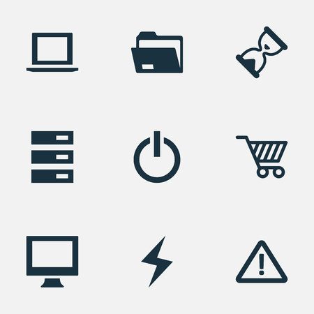 Vector Illustration Set Of Simple Notebook Icons. Elements Laptop, Dossier, Warning And Other Synonyms Shopping, Begin And Hourglass.
