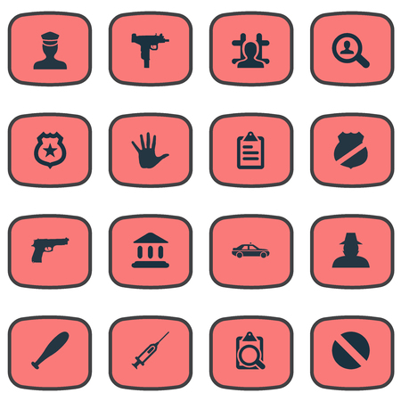 Vector Illustration Set Of Simple Offense Icons. Elements Pistol, and more. Illustration