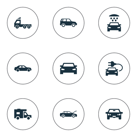 Vector Illustration Set Of Simple Auto Icons. Elements Traffic, Car Charging, Transport Cleaning And Other Synonyms Camion, Sedan And Electric.