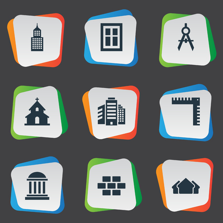 Vector Illustration Set Of Simple Architecture Icons. Elements Superstructure, Glazing, Academy And Other Synonyms Building, Edifice And Windows.