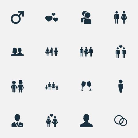 Ilustración vectorial Conjunto de iconos de pareja simple. Elementos Niños, Gay, Lineage Y Otros Sinónimos Man, People And Mates. Foto de archivo - 75716176