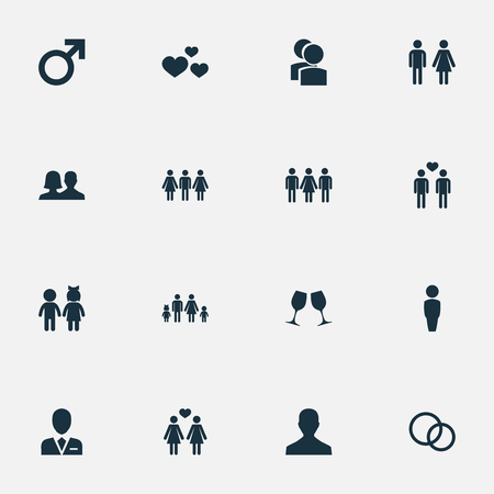 Vector Illustration Set Of Simple Couple Icons. Elements Children, Gay, Lineage And Other Synonyms Man, People And Mates.