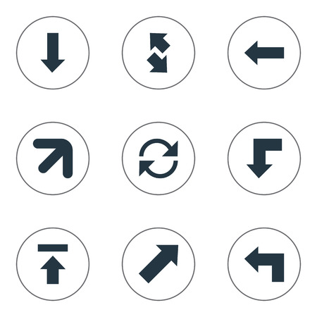 signing papers: Vector Illustration Set Of Simple Arrows Icons. Elements Downwards Pointing, Raising-Falling, Transfer And Other Synonyms Up, Upwards And Left.