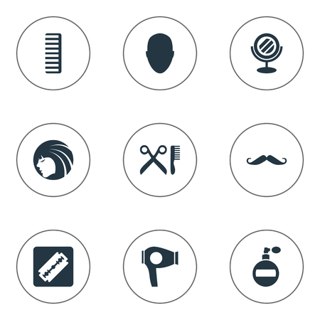 Vector Illustration Set Of Simple Barber Icons. Elements Human, Shaver, Aroma And Other Synonyms Man, Razor And Machine.