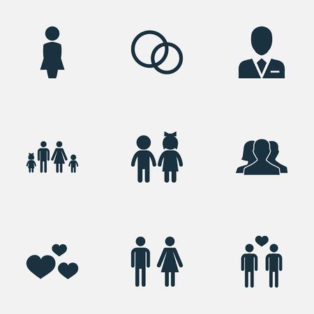 벡터 일러스트 레이 션 간단한 연인 아이콘의 집합입니다. 요소 마담, 결혼, 계보 및 기타 동의어 페어, 동성애 및 여자 해산.