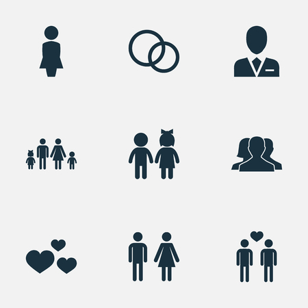 Vector Illustration Set Of Simple Lovers Icons. Elements Madame, Dissolve The Marriage, Lineage And Other Synonyms Pair, Homosexual And Woman.