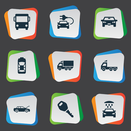 Vector Illustration Set Of Simple Car Icons. Elements Car Charging, Auto, Repair And Other Synonyms Auto, Electric And Shower. Illustration