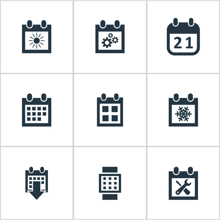 almanac: Vector Illustration Set Of Simple Plan Icons. Elements Summer Calendar, Renovation Tools, Date Block And Other Synonyms Agenda, Almanac And Block. Illustration