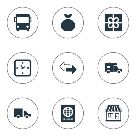 Vector Illustration Set Of Simple Delivery Icons. Elements Gift, Van, Holdall And Other Synonyms Transport, Autobus And Pouch. Stock Vector - 75716189