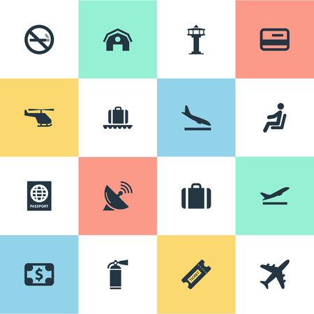 Vector Illustration Set Of Simple Transportation Icons. Elements Coupon, Certificate Of Citizenship, Cigarette Forbidden And Other Synonyms Antenna, Certificate And Fire.