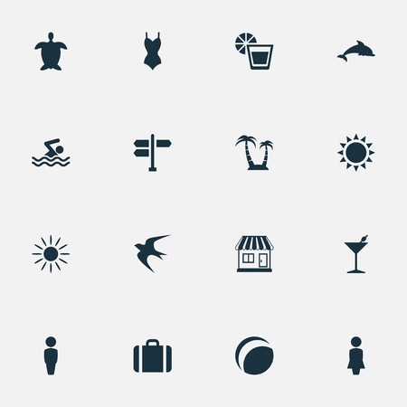 Vector Illustration Set Of Simple Seaside Icons. Elements Male, Bikini, Beverage And Other Synonyms Crossroad, Woman And Turtle. Illustration