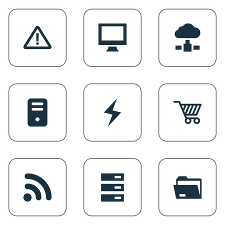 dangerous construction: Vector Illustration Set Of Simple Notebook Icons. Elements Monitor, Wave, Memory And Other Synonyms Charge, Cart And Store.