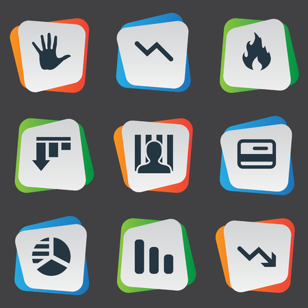 Vector Illustration Set Of Simple Trouble Icons. Elements Bar Graph, Plastic Card, Palm And Other Synonyms Downward, Circle And Card.