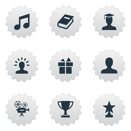 giftware: Vector Illustration Set Of Simple Trophy Icons. Elements User, Trophy, Literature And Others.