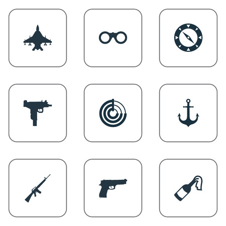Vector Illustration Set Of Simple Battle Icons. Elements Firearm, Field Glasses, Radio Locator And Others.