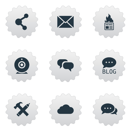 Vector Illustration Set Of Simple User Icons. Elements Argument, Repair, Broadcast And Other Synonyms Sky, Speech And Overcast.