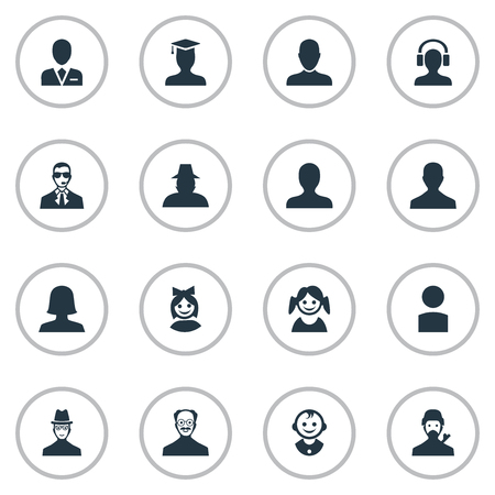 Vector Illustration Set Of Simple Member Icons. Elements Insider, Mysterious Man, Woman User And Other Synonyms Boy, Avatar And Whiskers.