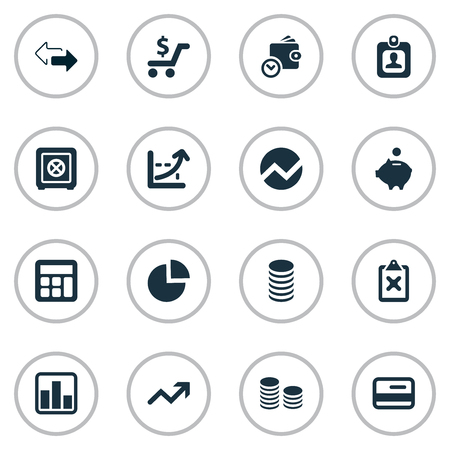 Vector Illustration Set Of Simple Finance Icons. Elements Wallet, Statistic, Strongbox And Other Synonyms Human, Credit And Rate. Stock Vector - 75716215